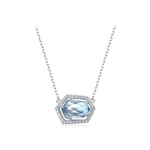 Special Shaped Blue Topaz Art Halo Silver Pendant
